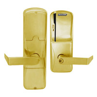 AD200-MS-40-MS-RHO-PD-605 Schlage Privacy Mortise Magnetic Stripe(Swipe) Lock with Rhodes Lever in Bright Brass
