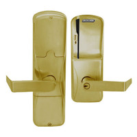 AD200-MS-40-MS-RHO-PD-606 Schlage Privacy Mortise Magnetic Stripe(Swipe) Lock with Rhodes Lever in Satin Brass