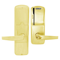 AD200-MS-40-MS-ATH-PD-605 Schlage Privacy Mortise Magnetic Stripe(Swipe) Lock with Athens Lever in Bright Brass