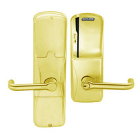 AD200-MS-40-MS-TLR-PD-605 Schlage Privacy Mortise Magnetic Stripe(Swipe) Lock with Tubular Lever in Bright Brass