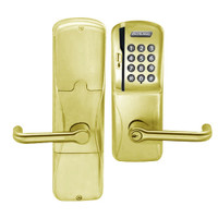 AD200-MS-40-MSK-TLR-PD-606 Schlage Privacy Mortise Magnetic Stripe Keypad Lock with Tubular Lever in Satin Brass