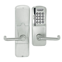 AD200-MS-40-MSK-TLR-PD-619 Schlage Privacy Mortise Magnetic Stripe Keypad Lock with Tubular Lever in Satin Nickel