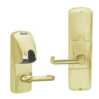 AD200-MS-40-MG-TLR-PD-606 Schlage Privacy Mortise Magnetic Stripe(Insert) Lock with Tubular Lever in Satin Brass