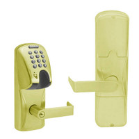 AD200-MS-40-MGK-RHO-PD-605 Schlage Privacy Mortise Magnetic Stripe(Insert) Keypad Lock with Rhodes Lever in Bright Brass