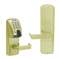AD200-MS-40-MGK-RHO-PD-606 Schlage Privacy Mortise Magnetic Stripe(Insert) Keypad Lock with Rhodes Lever in Satin Brass