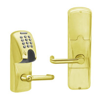 AD200-MS-40-MGK-TLR-PD-605 Schlage Privacy Mortise Magnetic Stripe(Insert) Keypad Lock with Tubular Lever in Bright Brass