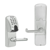 AD200-MS-40-MGK-TLR-PD-619 Schlage Privacy Mortise Magnetic Stripe(Insert) Keypad Lock with Tubular Lever in Satin Nickel