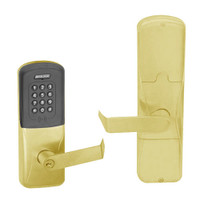 AD200-MS-40-MTK-RHO-PD-606 Schlage Privacy Mortise Multi-Technology Keypad Lock with Rhodes Lever in Satin Brass