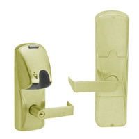AD200-MS-60-MG-RHO-PD-606 Schlage Apartment Mortise Magnetic Stripe(Insert) Lock with Rhodes Lever in Satin Brass