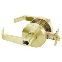 B-AU4605LN-605 Yale 4600LN Series Single Cylinder Storeroom or Closet Cylindrical Lock with Augusta Lever Prepped for SFIC in Bright Brass