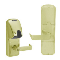 AD200-MD-60-MG-RHO-GD-29R-606 Schlage Apartment Mortise Deadbolt Magnetic Stripe(Insert) Lock with Rhodes Lever in Satin Brass