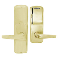 AD200-MD-40-MS-ATH-PD-606 Schlage Privacy Mortise Deadbolt Magnetic Stripe(Swipe) Lock with Athens Lever in Satin Brass
