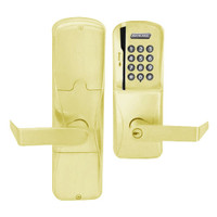 AD200-MD-40-MSK-RHO-PD-605 Schlage Privacy Mortise Deadbolt Magnetic Stripe Keypad Lock with Rhodes Lever in Bright Brass