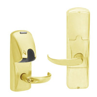 AD200-MD-40-MG-SPA-PD-605 Schlage Privacy Mortise Deadbolt Magnetic Stripe(Insert) Lock with Sparta Lever in Bright Brass