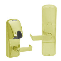 AD200-MD-40-MG-RHO-PD-605 Schlage Privacy Mortise Deadbolt Magnetic Stripe(Insert) Lock with Rhodes Lever in Bright Brass