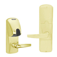 AD200-MD-40-MG-ATH-PD-605 Schlage Privacy Mortise Deadbolt Magnetic Stripe(Insert) Lock with Athens Lever in Bright Brass