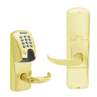 AD200-MD-40-MGK-SPA-PD-605 Schlage Privacy Mortise Deadbolt Magnetic Stripe(Insert) Keypad Lock with Sparta Lever in Bright Brass