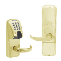 AD200-MD-40-MGK-SPA-PD-606 Schlage Privacy Mortise Deadbolt Magnetic Stripe(Insert) Keypad Lock with Sparta Lever in Satin Brass