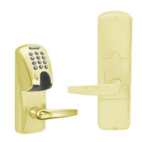 AD200-MD-40-MGK-ATH-PD-605 Schlage Privacy Mortise Deadbolt Magnetic Stripe(Insert) Keypad Lock with Athens Lever in Bright Brass