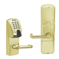 AD200-MD-40-MGK-TLR-PD-606 Schlage Privacy Mortise Deadbolt Magnetic Stripe(Insert) Keypad Lock with Tubular Lever in Satin Brass