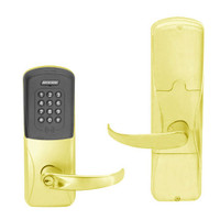 AD200-MD-40-MTK-SPA-PD-605 Schlage Privacy Mortise Deadbolt Multi-Technology Keypad Lock with Sparta Lever in Bright Brass