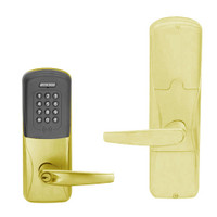 AD200-MD-40-MTK-ATH-PD-605 Schlage Privacy Mortise Deadbolt Multi-Technology Keypad Lock with Athens Lever in Bright Brass