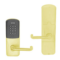 AD200-MD-40-MTK-TLR-PD-605 Schlage Privacy Mortise Deadbolt Multi-Technology Keypad Lock with Tubular Lever in Bright Brass