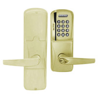 AD200-MD-60-MSK-ATH-PD-606 Schlage Apartment Mortise Deadbolt Magnetic Stripe Keypad Lock with Athens Lever in Satin Brass
