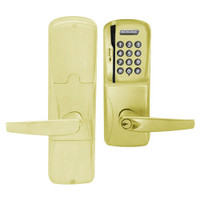 AD250-CY-40-MSK-ATH-PD-605 Schlage Privacy Magnetic Stripe Keypad Lock with Athens Lever in Bright Brass