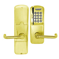 AD250-CY-40-MSK-TLR-PD-605 Schlage Privacy Magnetic Stripe Keypad Lock with Tubular Lever in Bright Brass