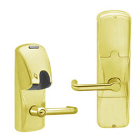 AD250-CY-40-MG-TLR-PD-605 Schlage Privacy Magnetic Stripe(Insert) Lock with Tubular Lever in Bright Brass