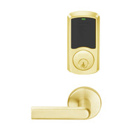 LEMD-GRW-P-01-605-00A Schlage Privacy/Apartment Wireless Greenwich Mortise Deadbolt Lock with LED and 01 Lever in Bright Brass