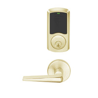 LEMD-GRW-P-05-606-00B Schlage Privacy/Apartment Wireless Greenwich Mortise Deadbolt Lock with LED and 05 Lever in Satin Brass