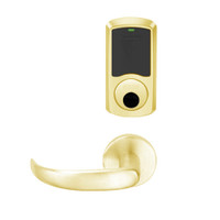 LEMD-GRW-L-17-605-00C Schlage Less Cylinder Privacy/Apartment Wireless Greenwich Mortise Deadbolt Lock with LED and Sparta Lever in Bright Brass