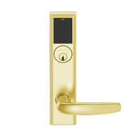 LEMS-ADD-P-07-605 Schlage Storeroom Wireless Addison Mortise Lock with LED and Athens Lever in Bright Brass