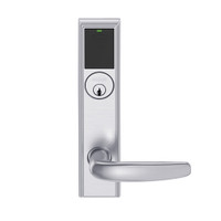 LEMB-ADD-P-07-626AM Schlage Privacy/Office Wireless Addison Mortise Lock with Push Button, LED and Athens Lever in Satin Chrome Antimicrobial