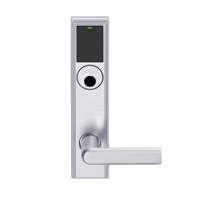 LEMS-ADD-L-01-626AM Schlage Less Mortise Cylinder Storeroom Wireless Addison Mortise Lock with LED and 01 Lever in Satin Chrome Antimicrobial