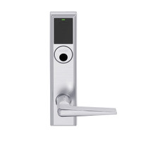 LEMS-ADD-L-05-626AM Schlage Less Mortise Cylinder Storeroom Wireless Addison Mortise Lock with LED and 05 Lever in Satin Chrome Antimicrobial