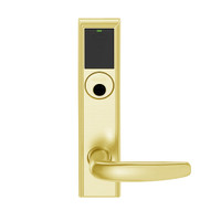 LEMB-ADD-L-07-605 Schlage Less Mortise Cylinder Privacy/Office Wireless Addison Mortise Lock with Push Button, LED and Athens Lever in Bright Brass