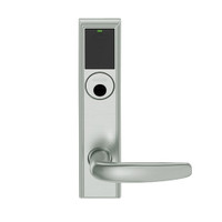 LEMB-ADD-L-07-619 Schlage Less Mortise Cylinder Privacy/Office Wireless Addison Mortise Lock with Push Button, LED and Athens Lever in Satin Nickel
