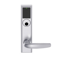 LEMB-ADD-L-07-626AM Schlage Less Mortise Cylinder Privacy/Office Wireless Addison Mortise Lock with Push Button, LED and Athens Lever in Satin Chrome Antimicrobial