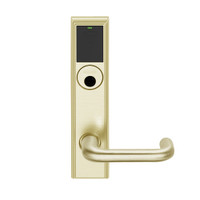 LEMB-ADD-L-03-606 Schlage Less Mortise Cylinder Privacy/Office Wireless Addison Mortise Lock with Push Button, LED and Tubular Lever in Satin Brass