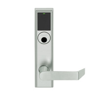LEMB-ADD-L-06-619 Schlage Less Mortise Cylinder Privacy/Office Wireless Addison Mortise Lock with Push Button, LED and Rhodes Lever in Satin Nickel