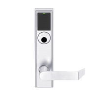 LEMB-ADD-L-06-625 Schlage Less Mortise Cylinder Privacy/Office Wireless Addison Mortise Lock with Push Button, LED and Rhodes Lever in Bright Chrome