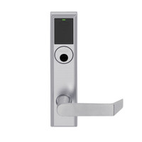 LEMB-ADD-L-06-626 Schlage Less Mortise Cylinder Privacy/Office Wireless Addison Mortise Lock with Push Button, LED and Rhodes Lever in Satin Chrome
