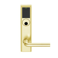 LEMB-ADD-L-02-605 Schlage Less Mortise Cylinder Privacy/Office Wireless Addison Mortise Lock with Push Button, LED and 02 Lever in Bright Brass