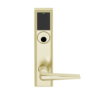LEMB-ADD-L-05-606 Schlage Less Mortise Cylinder Privacy/Office Wireless Addison Mortise Lock with Push Button, LED and 05 Lever in Satin Brass