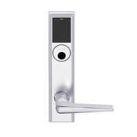LEMB-ADD-L-05-625 Schlage Less Mortise Cylinder Privacy/Office Wireless Addison Mortise Lock with Push Button, LED and 05 Lever in Bright Chrome