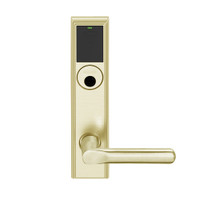 LEMB-ADD-L-18-606 Schlage Less Mortise Cylinder Privacy/Office Wireless Addison Mortise Lock with Push Button, LED and 18 Lever in Satin Brass