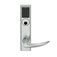 LEMB-ADD-L-OME-619 Schlage Less Mortise Cylinder Privacy/Office Wireless Addison Mortise Lock with Push Button, LED and Omega Lever in Satin Nickel